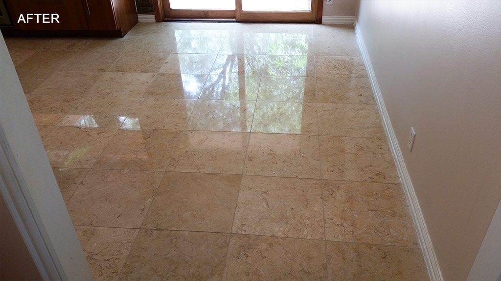 Limestone Floor In An Austin TX Home Was Frustrated Because The Had A Dull Honed Finish She Really Wanted To Have Highly Polished