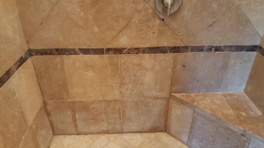 Travertine Shower Before